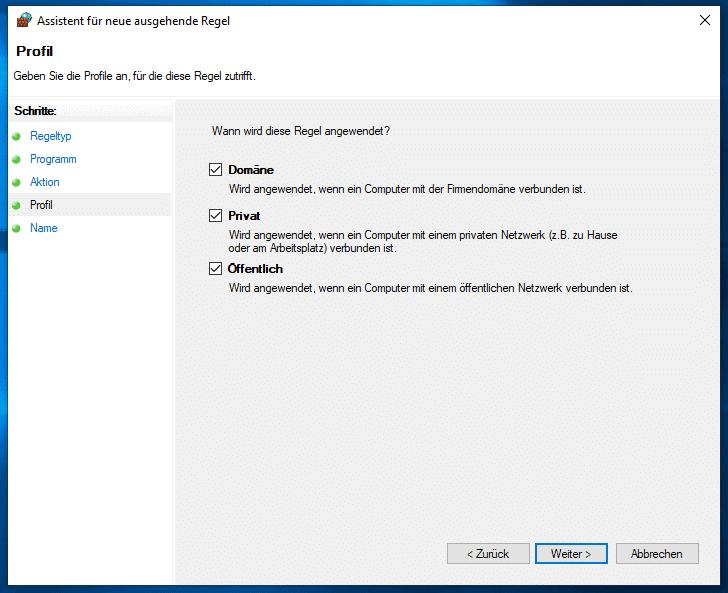 Windows 10 Firewall Regel anwenden