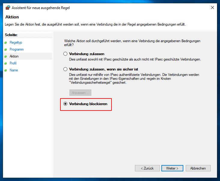 Windows 10 Firewall Verbindung blockieren