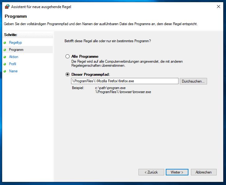 Windows 10 Firewall Programm für neue Regel wählen.
