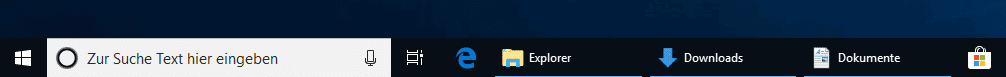 Icons in Windows 10 Taskleiste nicht gruppiert.