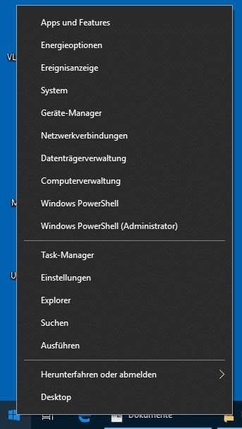 Windows 10 Admin Menü