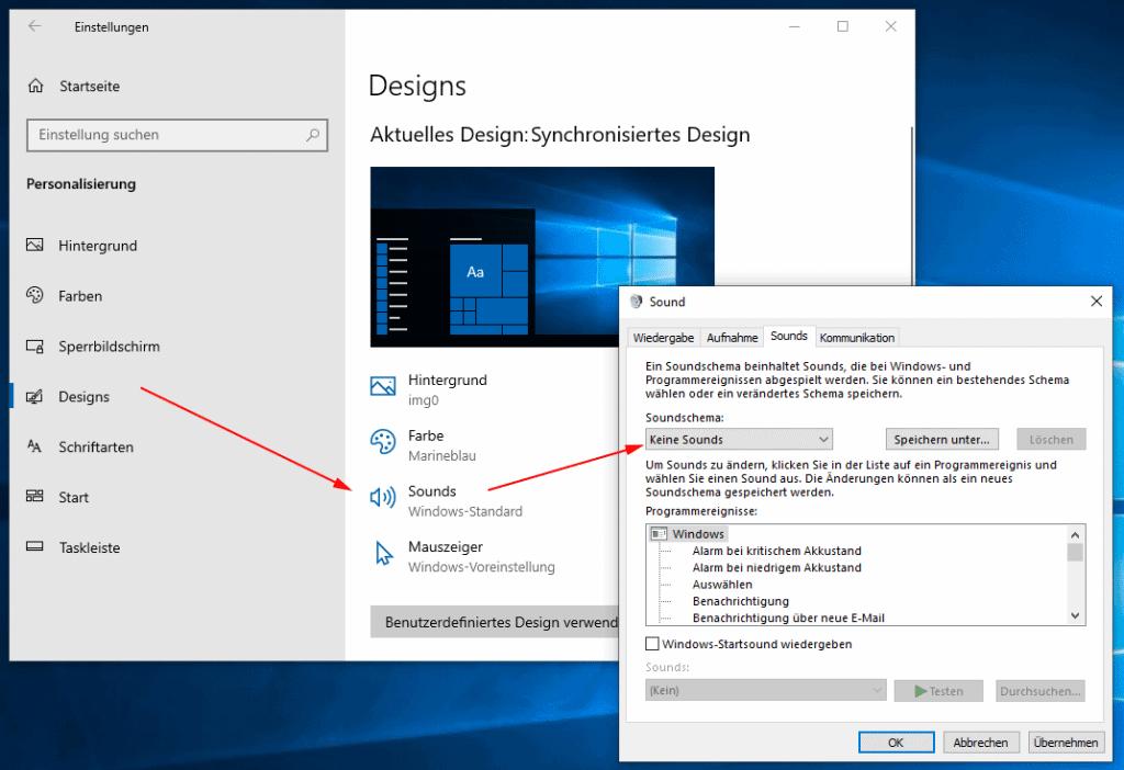 Windows 10 Soundschema deaktivieren