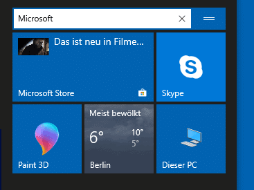 Gruppen im Windows 10 Startmenü anlegen