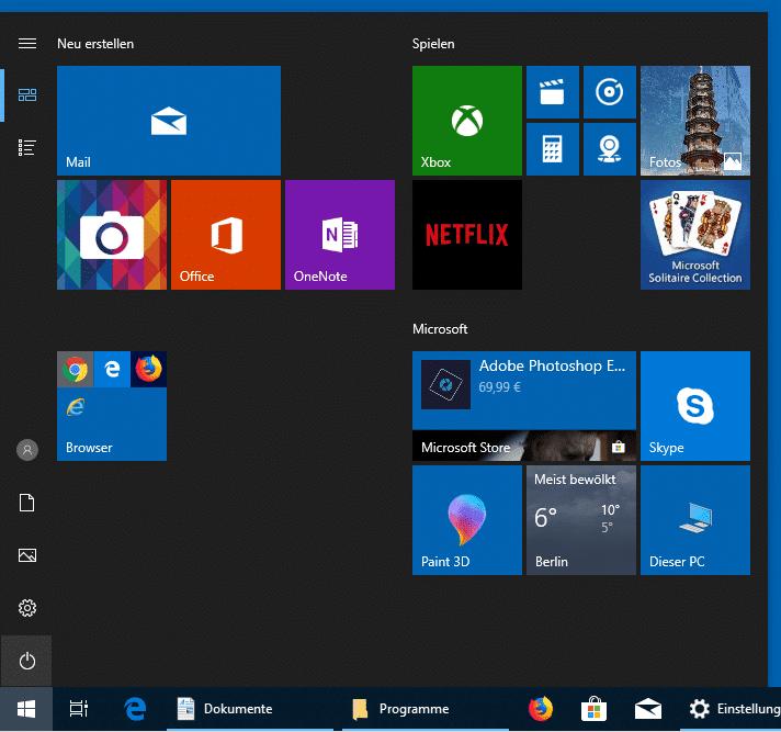 Windows 10 Startmenü nur Kacheln anzeigen