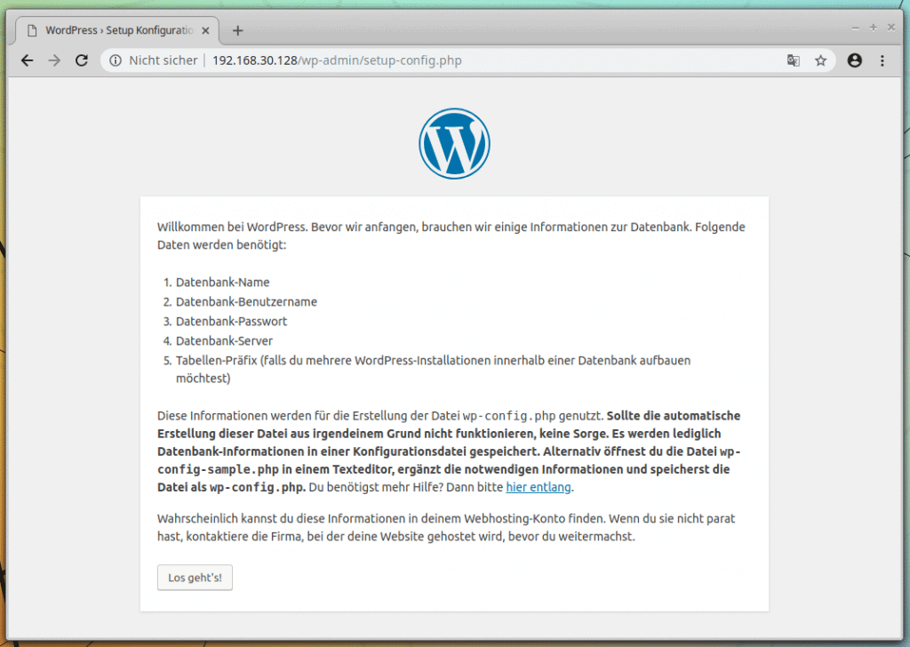 Wordpress Setup im Browser