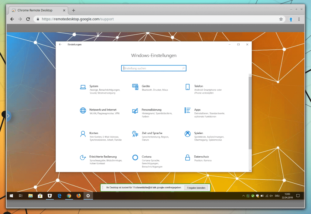 Remote Desktop mit Google Chrome