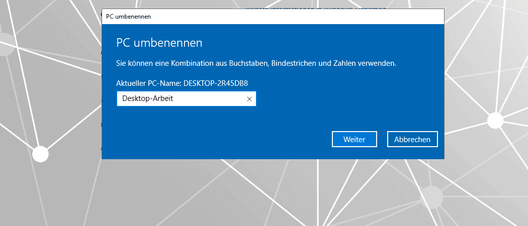 Windows 10 Compuername ändern Beitrag
