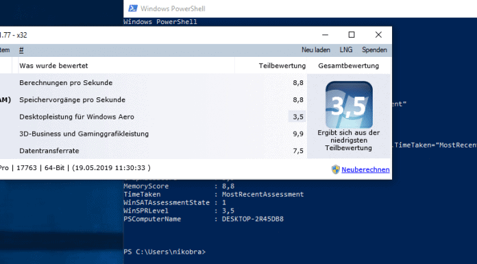 Windows 10 Leistungsindex anzeigen Beitrag