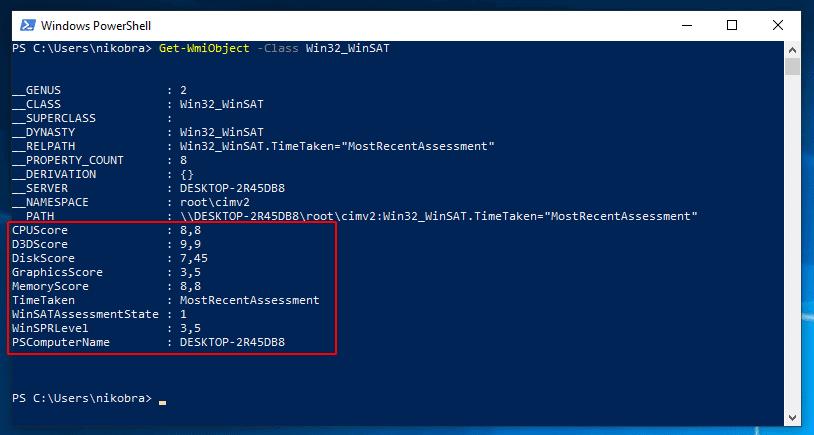 Windows 10 Leistungsindex in PowerShell