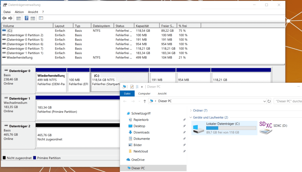Windows 10 Datenträgerverwaltung Laufwerk unformatiert