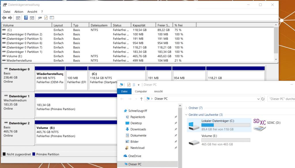 Windows 10 Datenträgerverwaltung Laufwerk formatiert und patitioniert.