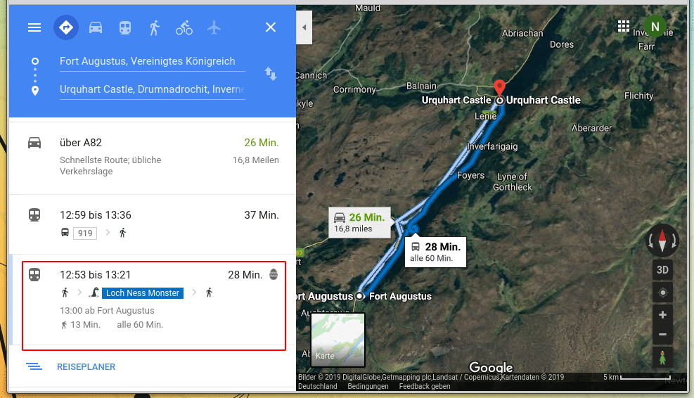 Loch Ness Monster als Transportmittel in Google Maps