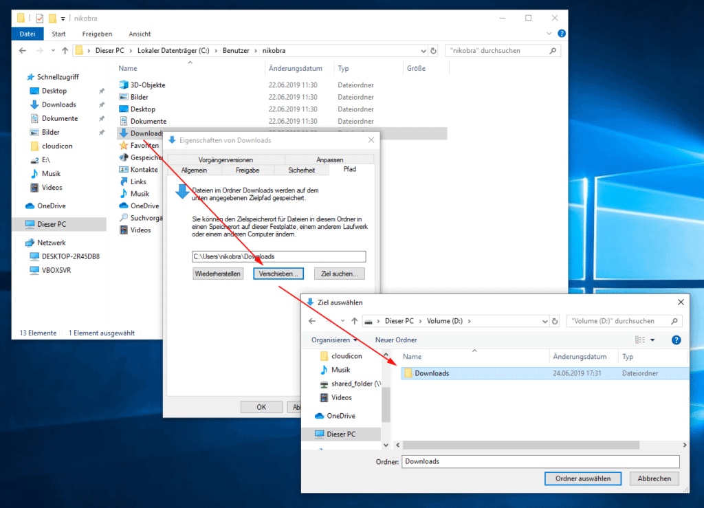 Downloadordner unter Windows 10 verschieben