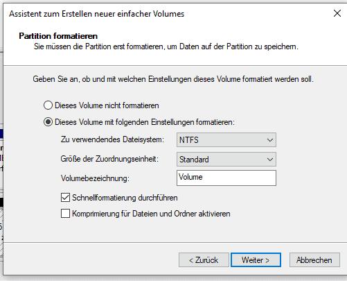 Partition unter Windows 10 formatieren