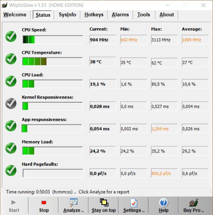 WhySoSlow Benutzeroberfläche