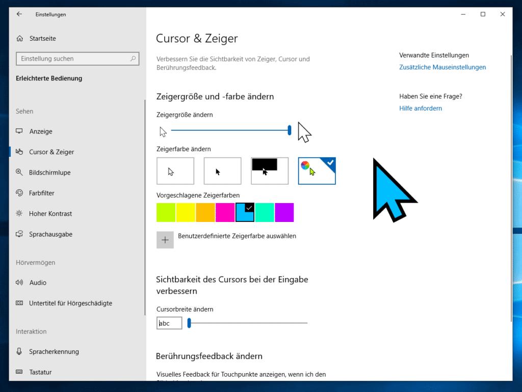 Windows 10 Mauszeiger anpassen