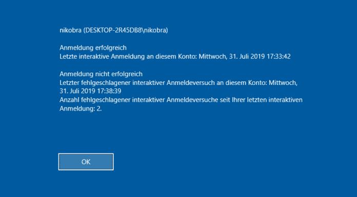 Windows 10 last Login Beitrag