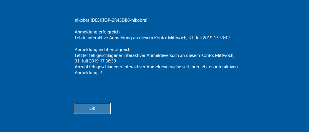 Windows 10 last Login Beitrag