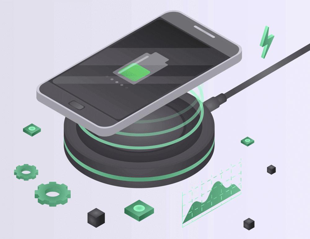 Smartphone wird drahtlos geladen