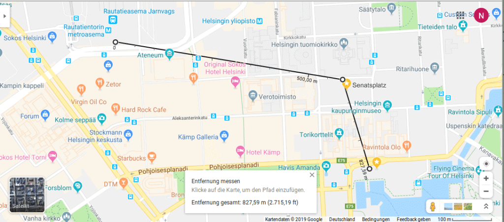 Entfernungen in Google Maps im Browser messen