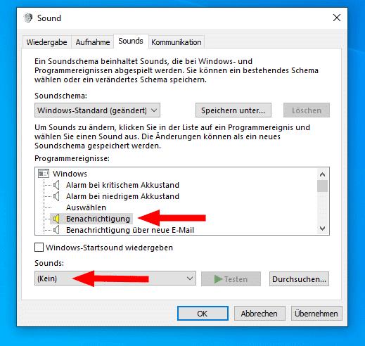 Windows 10 Sound für Benachrichtigungen deaktivieren.