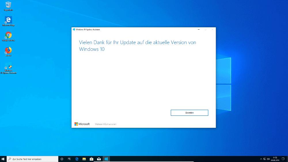 Windows 10 Update über Update-Assistent abgeschlossen