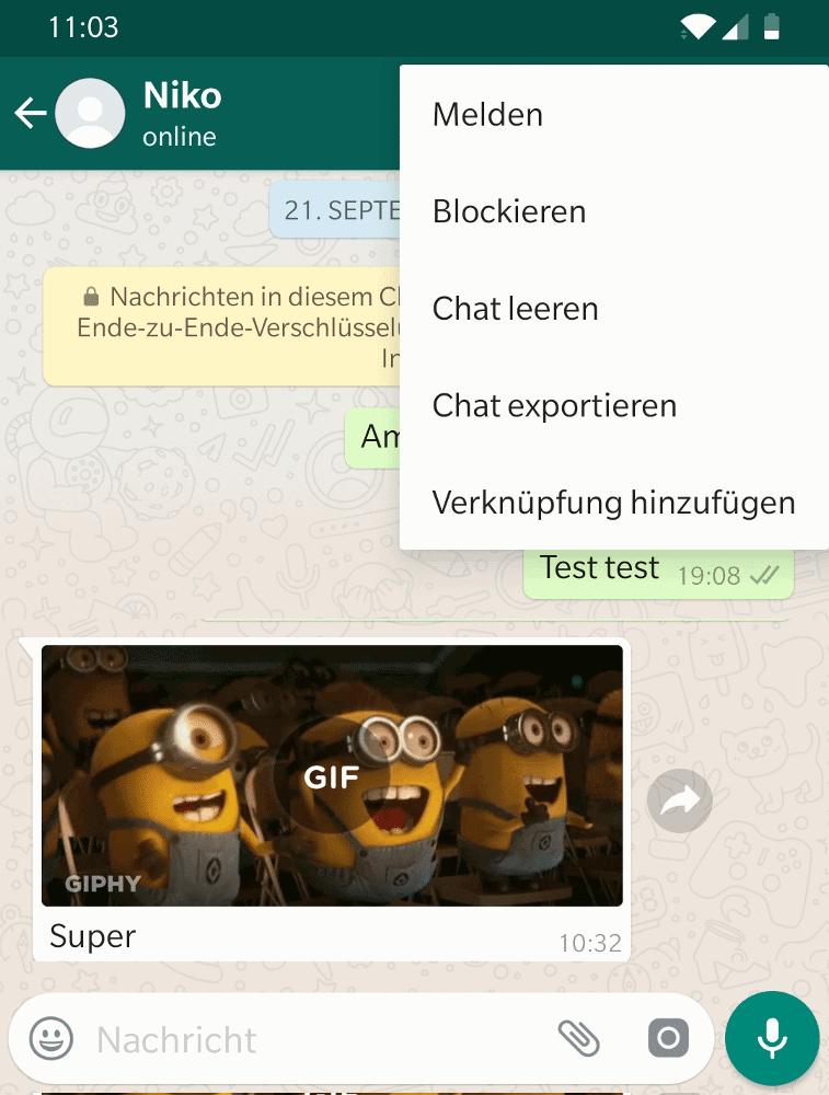 WhatsApp Chat von Android exportieren