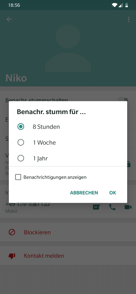 Kontakt in WhatsApp auf Android vorübergehend stumm schalten
