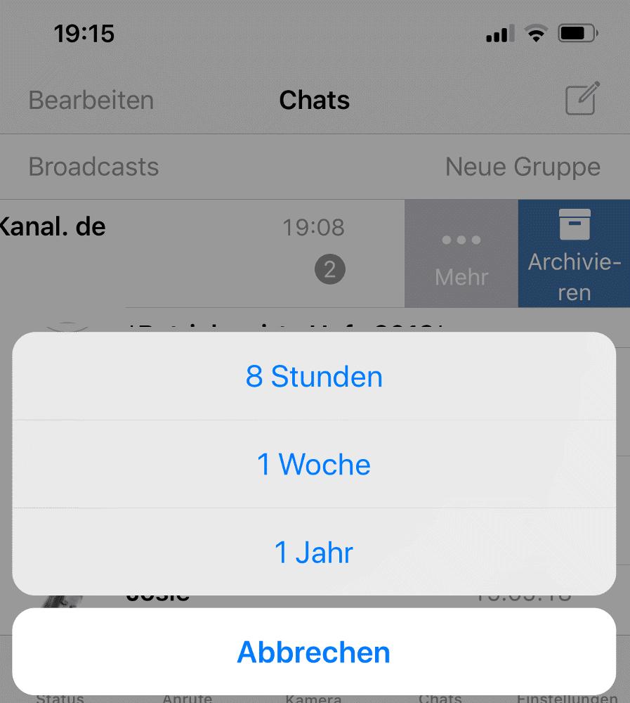 Kontakt in WhatsApp auf iPhone vorübergehend stumm schalten