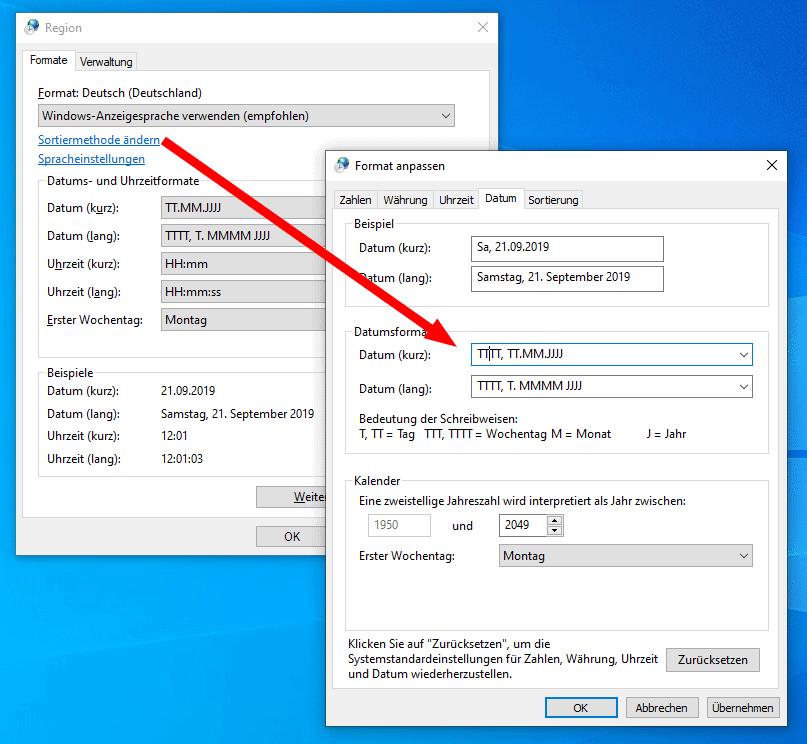Windows 10 Datumformat ändern
