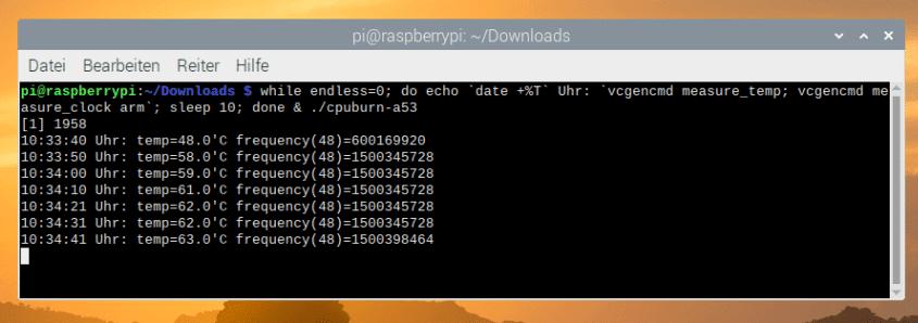 CPUBurn im Terminal ausführen