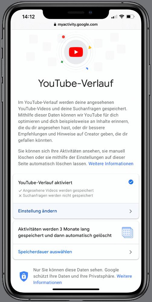 Einstellungen zum Youtube-Verlauf