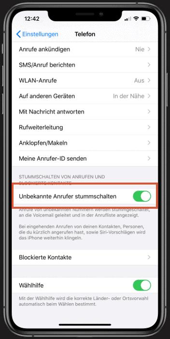 Auf dem iPhone unbekannte Anrufer automatisch stummschalten