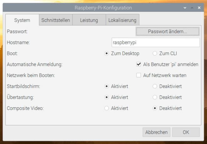 Raspberry Pi Einstellungen System