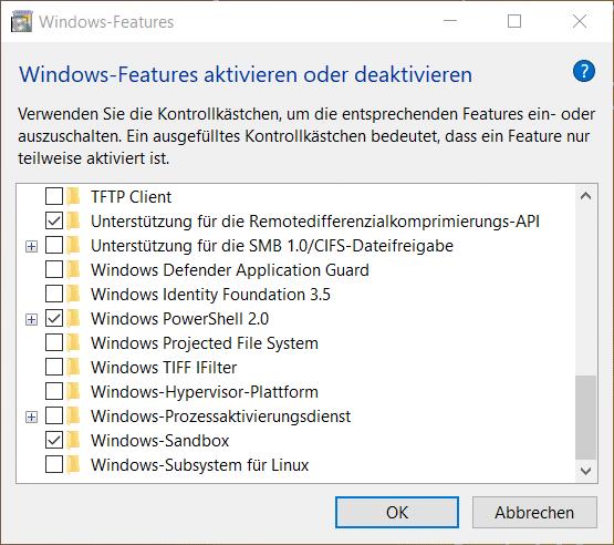 Windows 10 Sandbox aktivieren