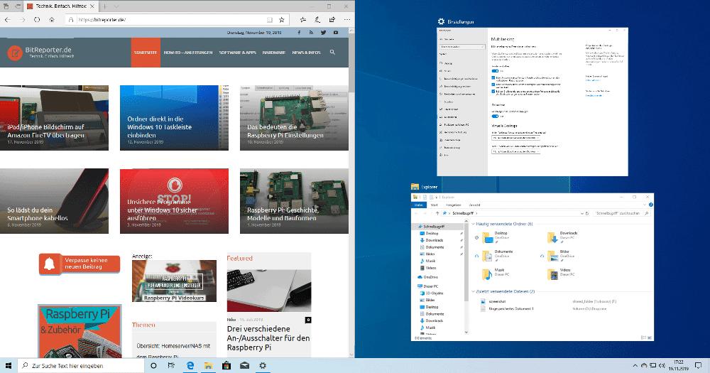 Windows 10 Andockverhalten von Fenstern