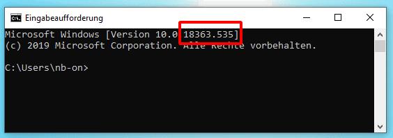 Windows Buildnummer in der Eingabeaufforderung anzeigen.
