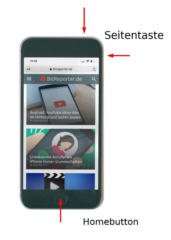 Screenshot erstellen bei iPhone mit Homebutton