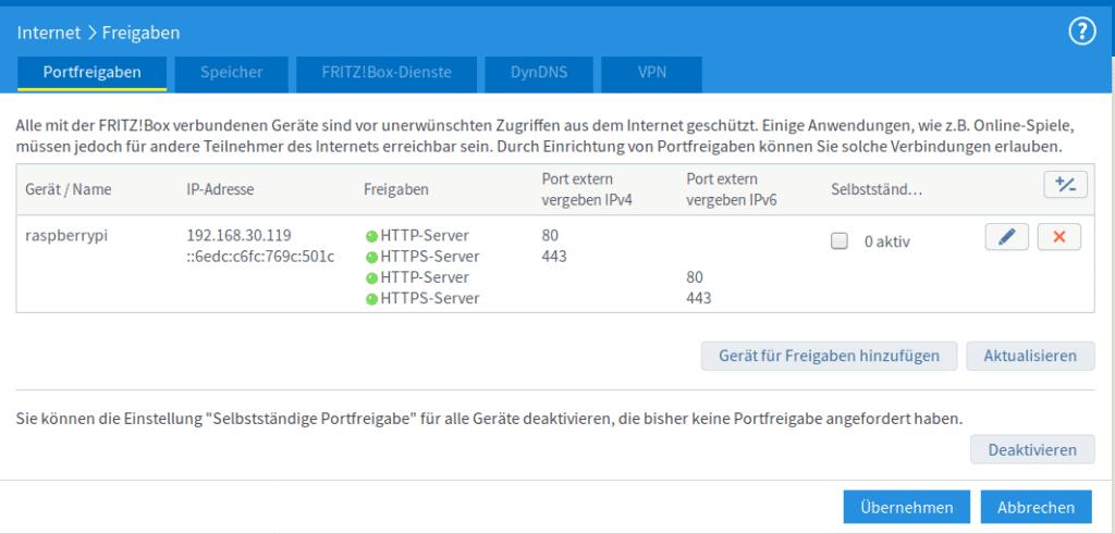 Fritzbox MyFritz Freigaben