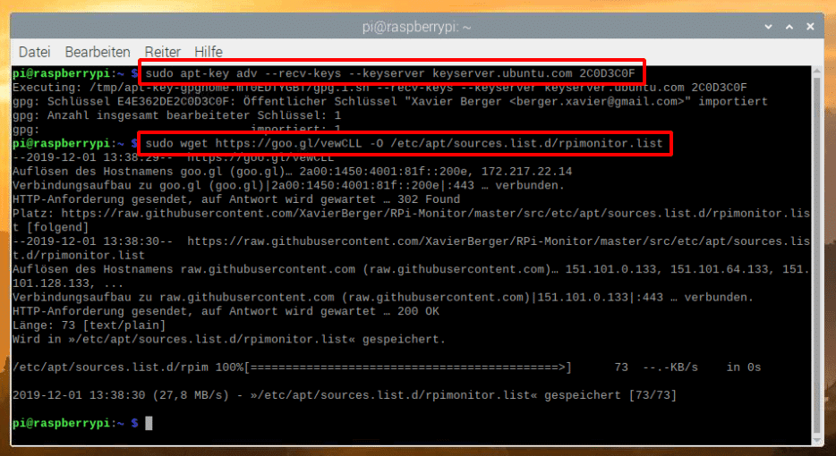 Raspberry Pi RPIMonitor Repository hinzufügen