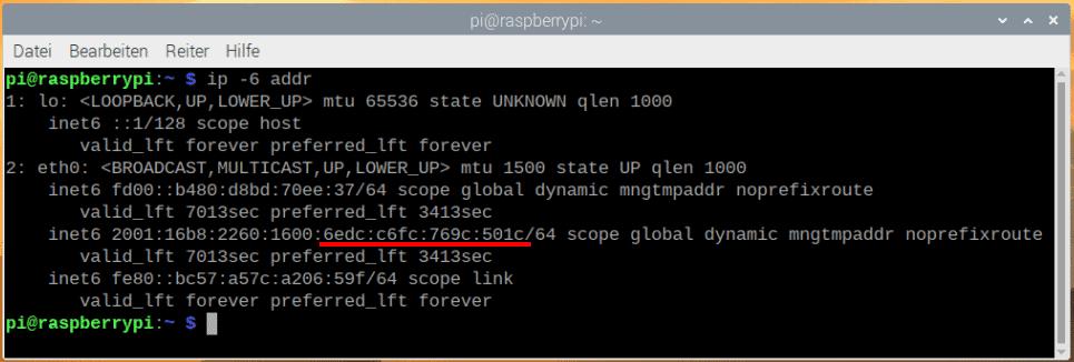 Raspberry Pi IPv6 Adresse im Terminal anzeigen