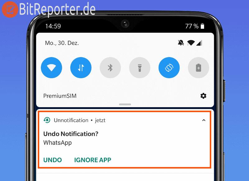 Entfernte Benachrichtigung unter Android wiederherstellen