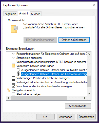 Versteckte Dateien und Ordner in Windows 10 einblenden.