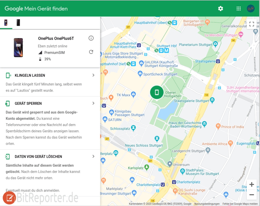 Android Handy orten mit Google Mein Gerät finden