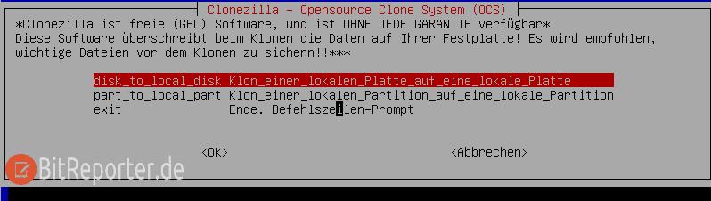 Clonezilla Schritt 2 - Beginner auswählen
