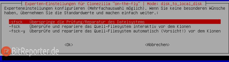 Clonezilla Überspringen der Prüfung/Reparatur