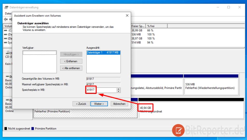 Partition mit der Datenträgerverwaltung vergrößern.