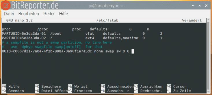 USB-Stick als Auslagerungspartition dauerhaft in den Raspberry Pi einbinden.