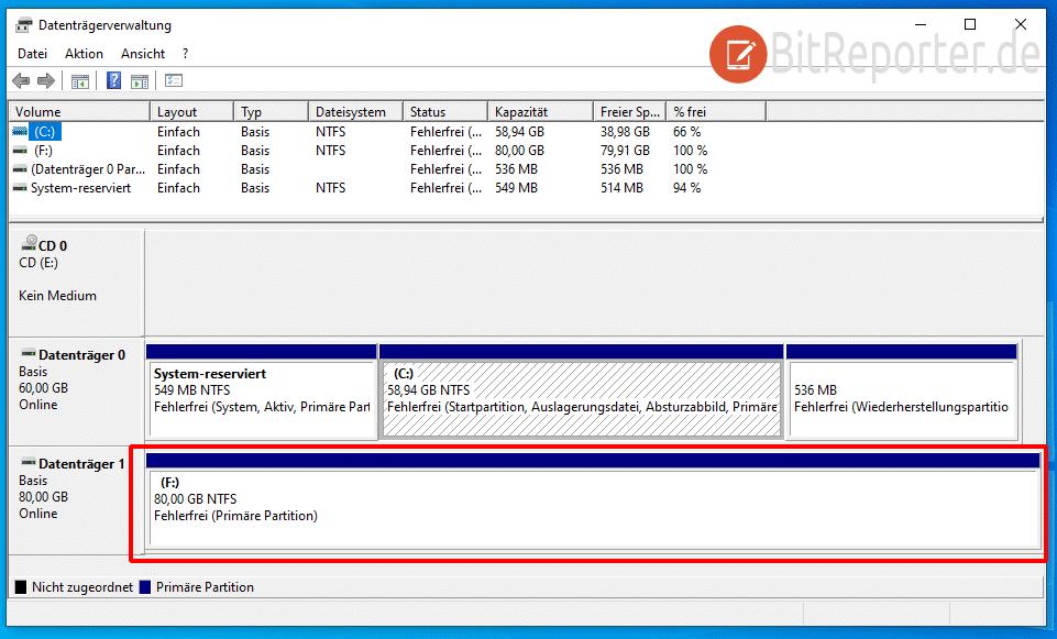 Vergrößerte Partition in Windows