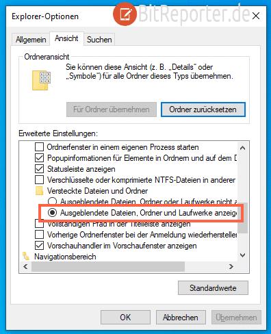 Unsichtbare Ordner und Dateien in Windows 10 einblenden